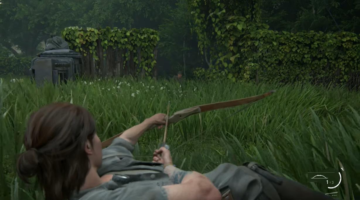 俯卧也是二代新加入的动作元素,Ellie甚至可以俯卧拉弓暗杀。 图:翻摄自YouTube